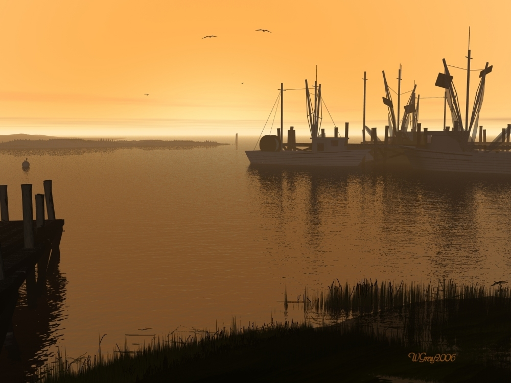 Tow Shrimpers and a Long Liner by skiwillgee