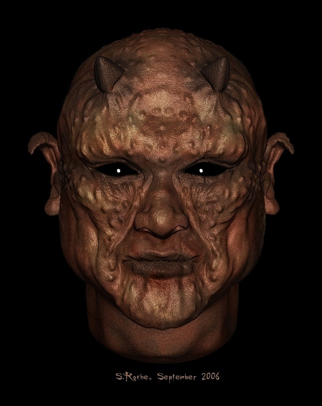 Demon's Face (an attempt at texturing...) by Azr1el