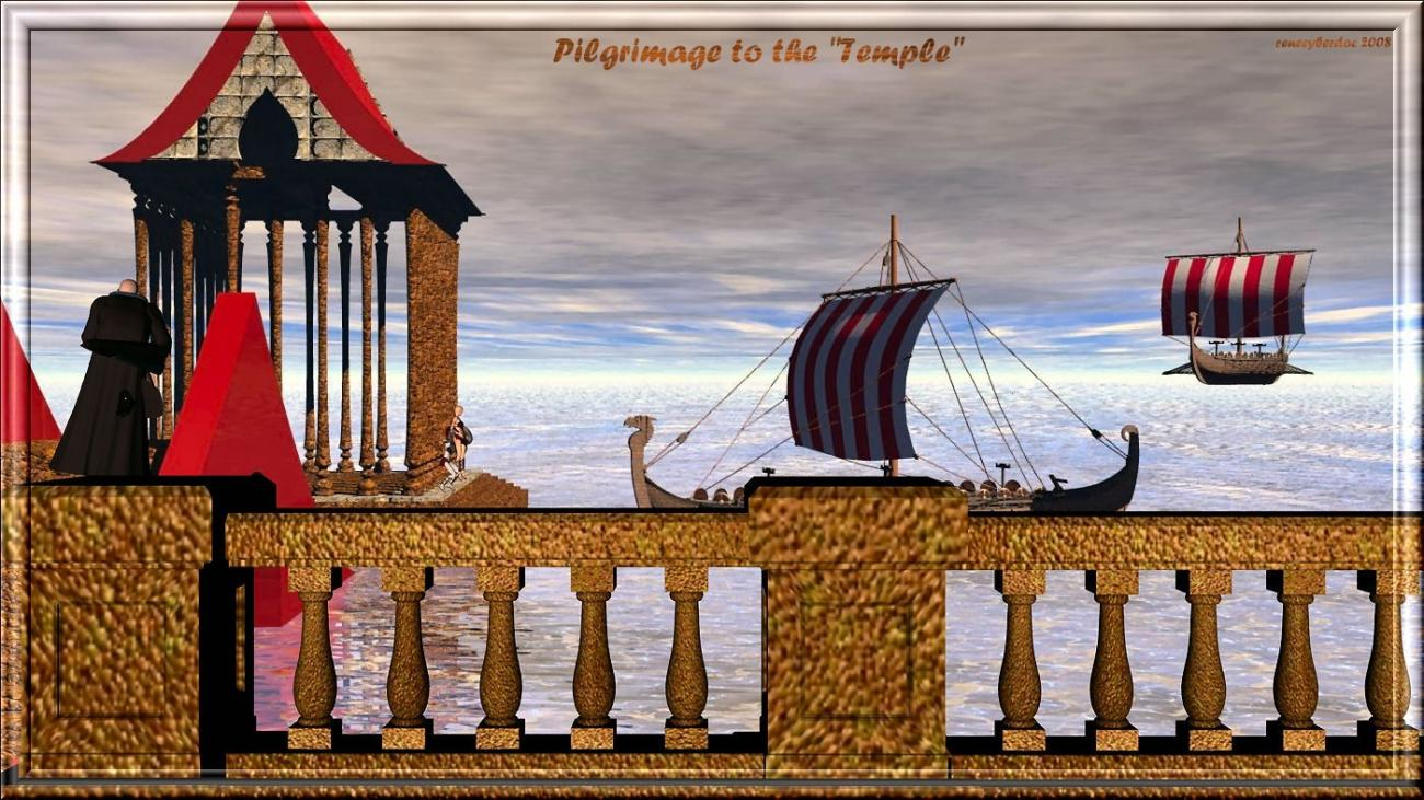 pilgrimage to the temple by renecyberdoc