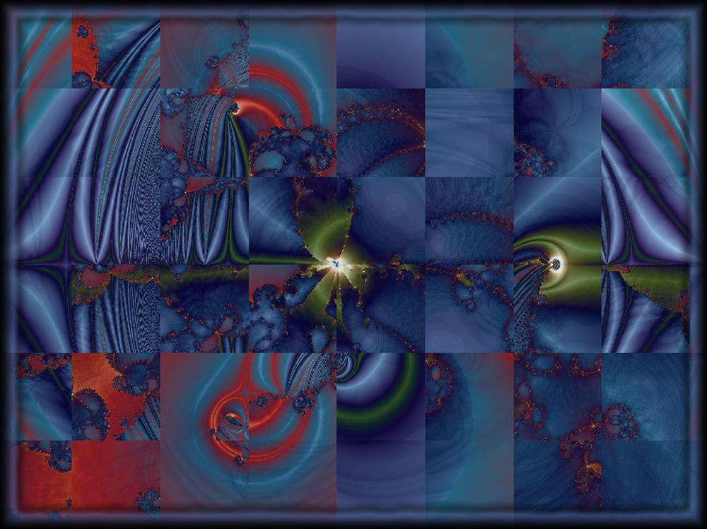 Abstract Blue Squares by RondaJ