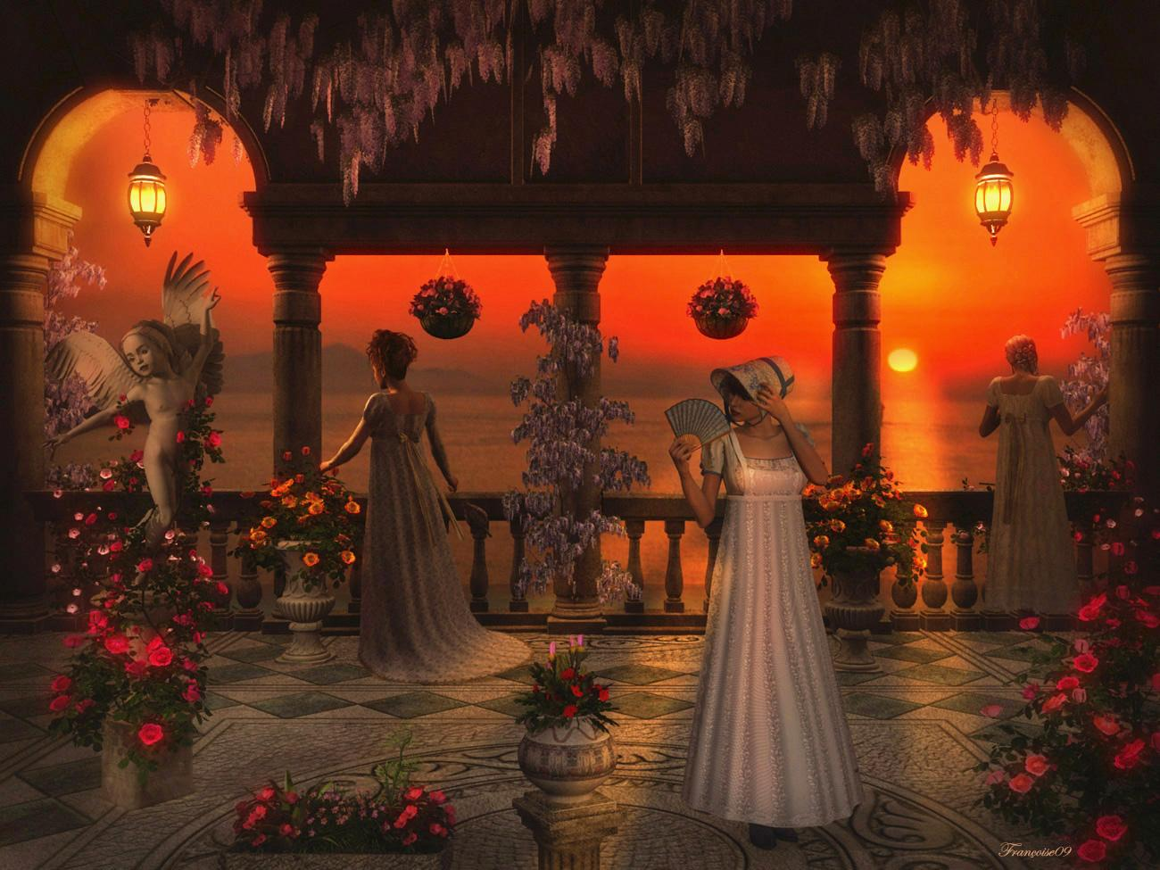 Flowery Patio at the Sunset by madame