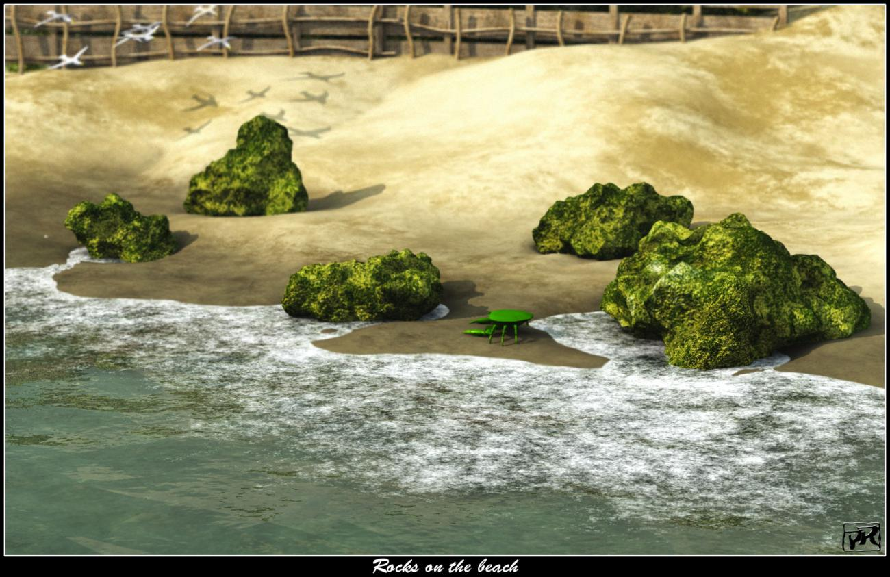 Rocks on the beach by Akhbour
