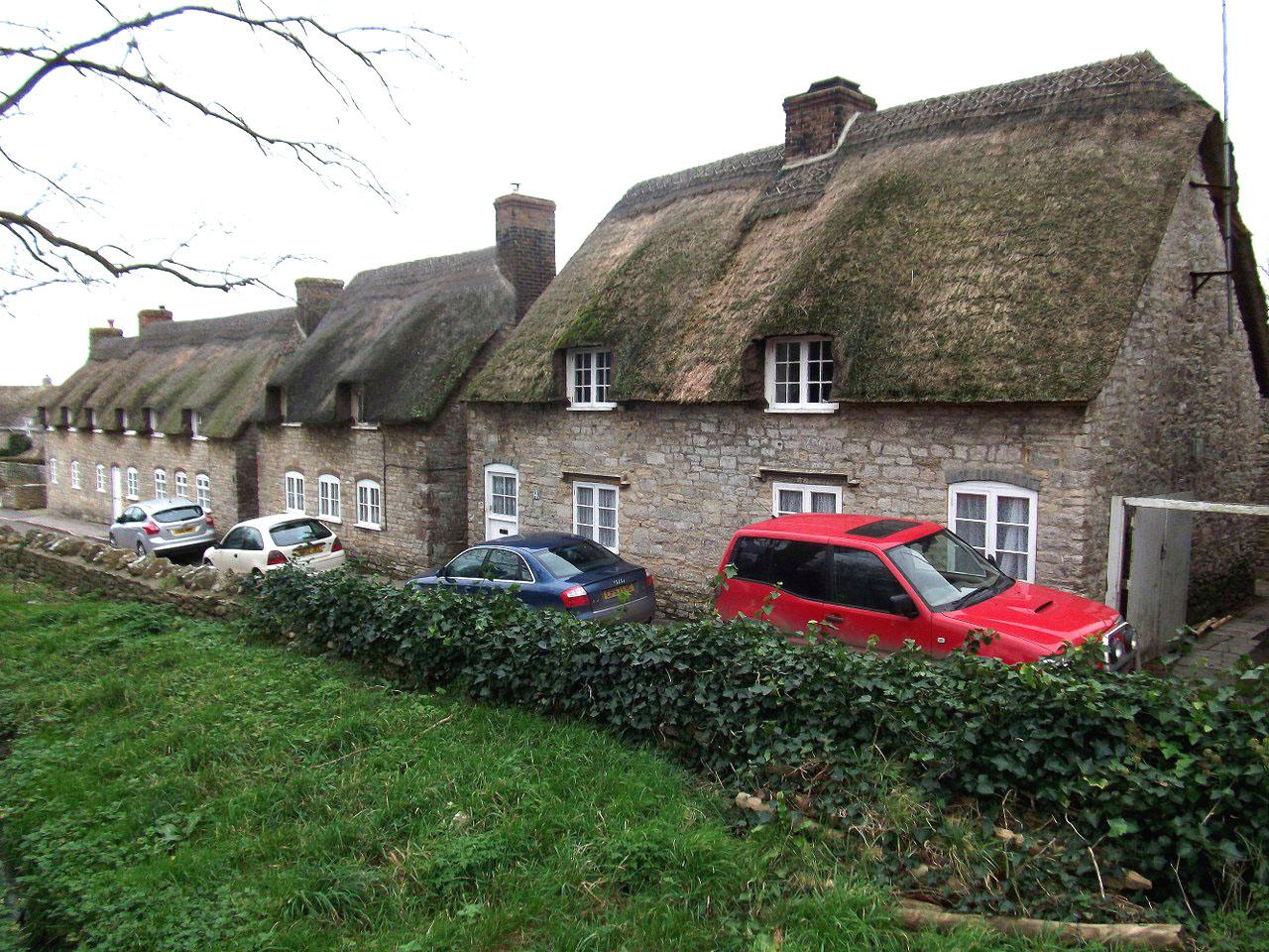 Thatched cottages.