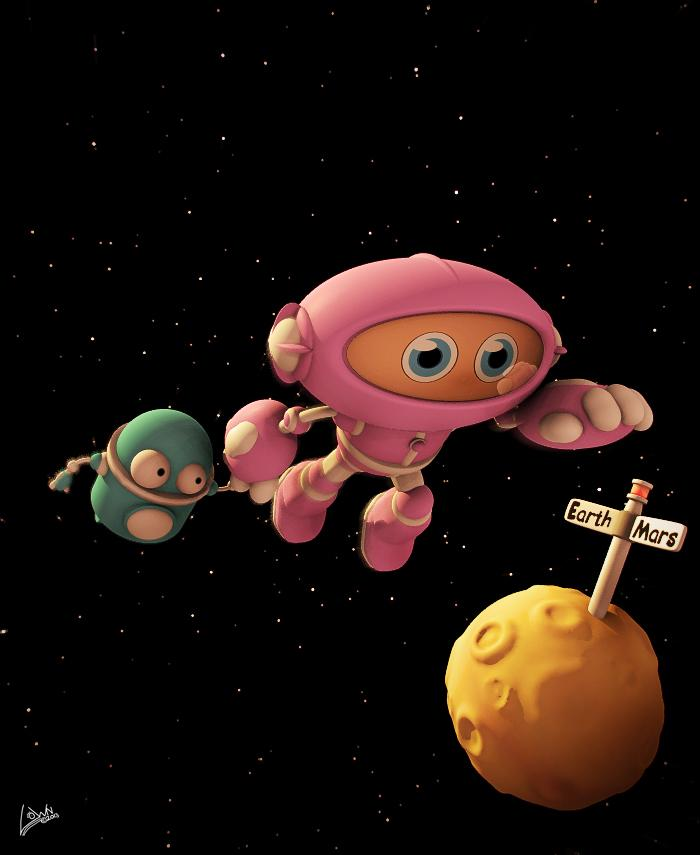 Alma and Pip race to Mars by Lown
