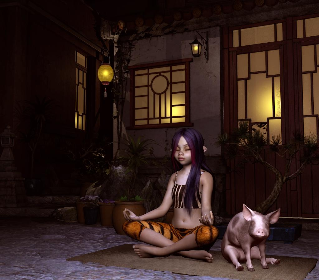 Night Zen (with Piglets) by Thorne
