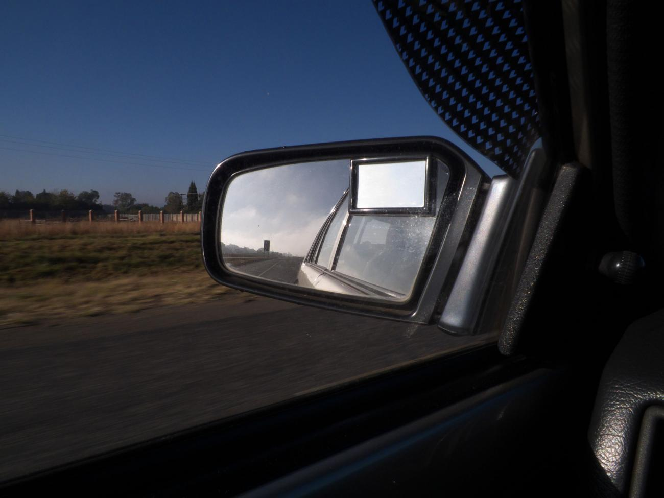 In the passangesr side mirror. by kgb224