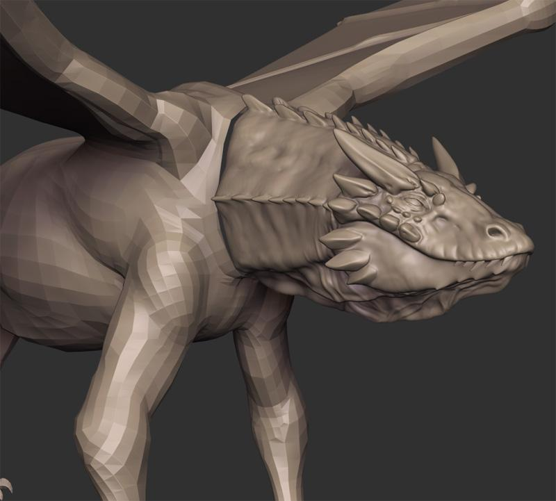 Horned Dragon WIP by Teyon