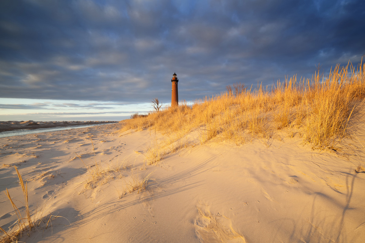 Dune Grass and Little Point Sable Lighthouse by starfire777