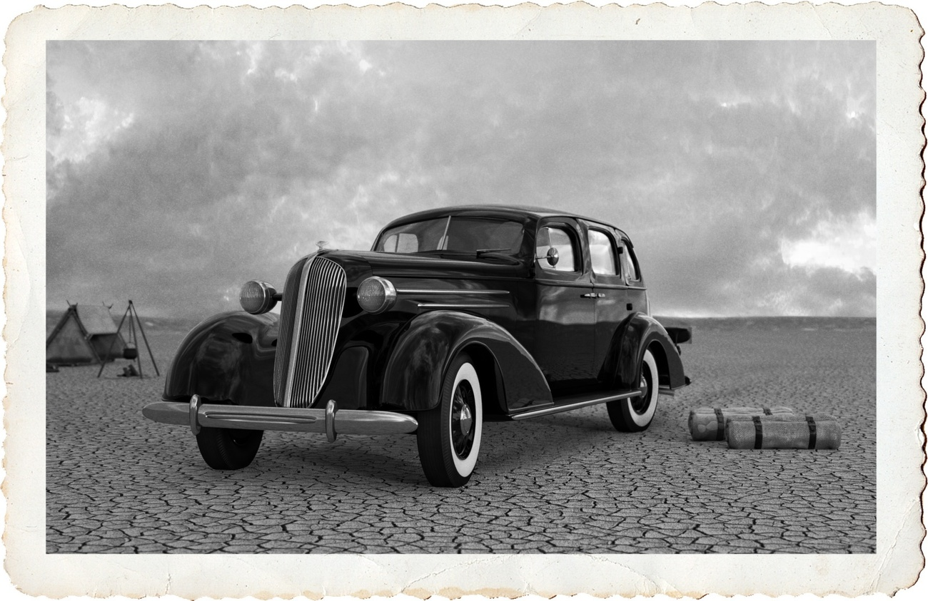 '36 Chevy on the Lakebed by beas62