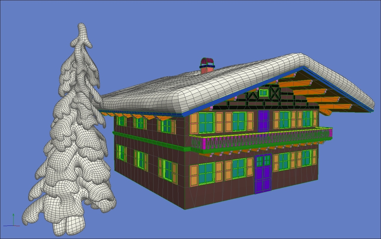Wings3d Screenshot - Chalet and Tree by Simone83