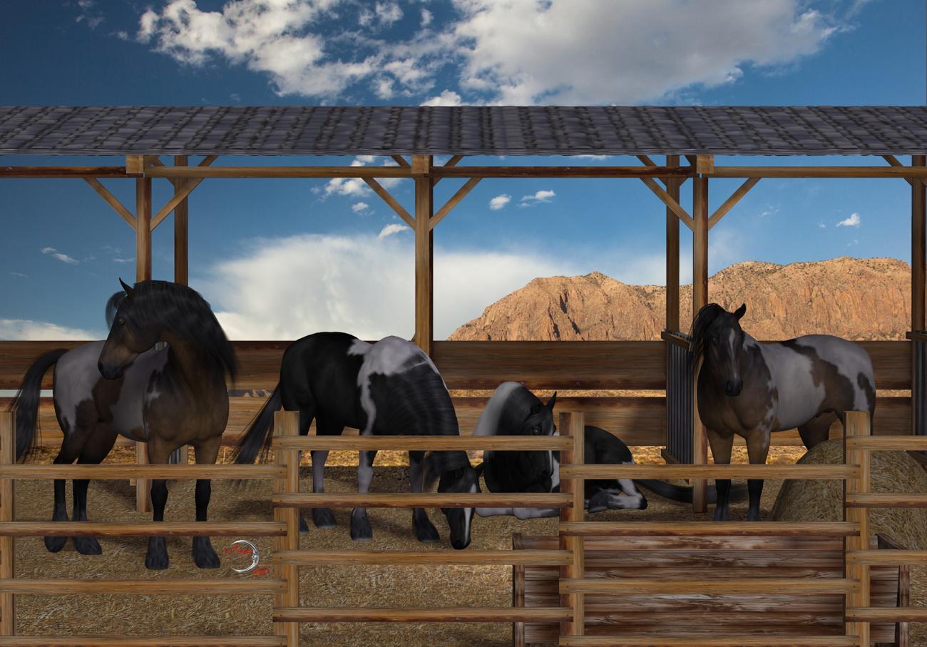 Horses in the stable by FLDesign