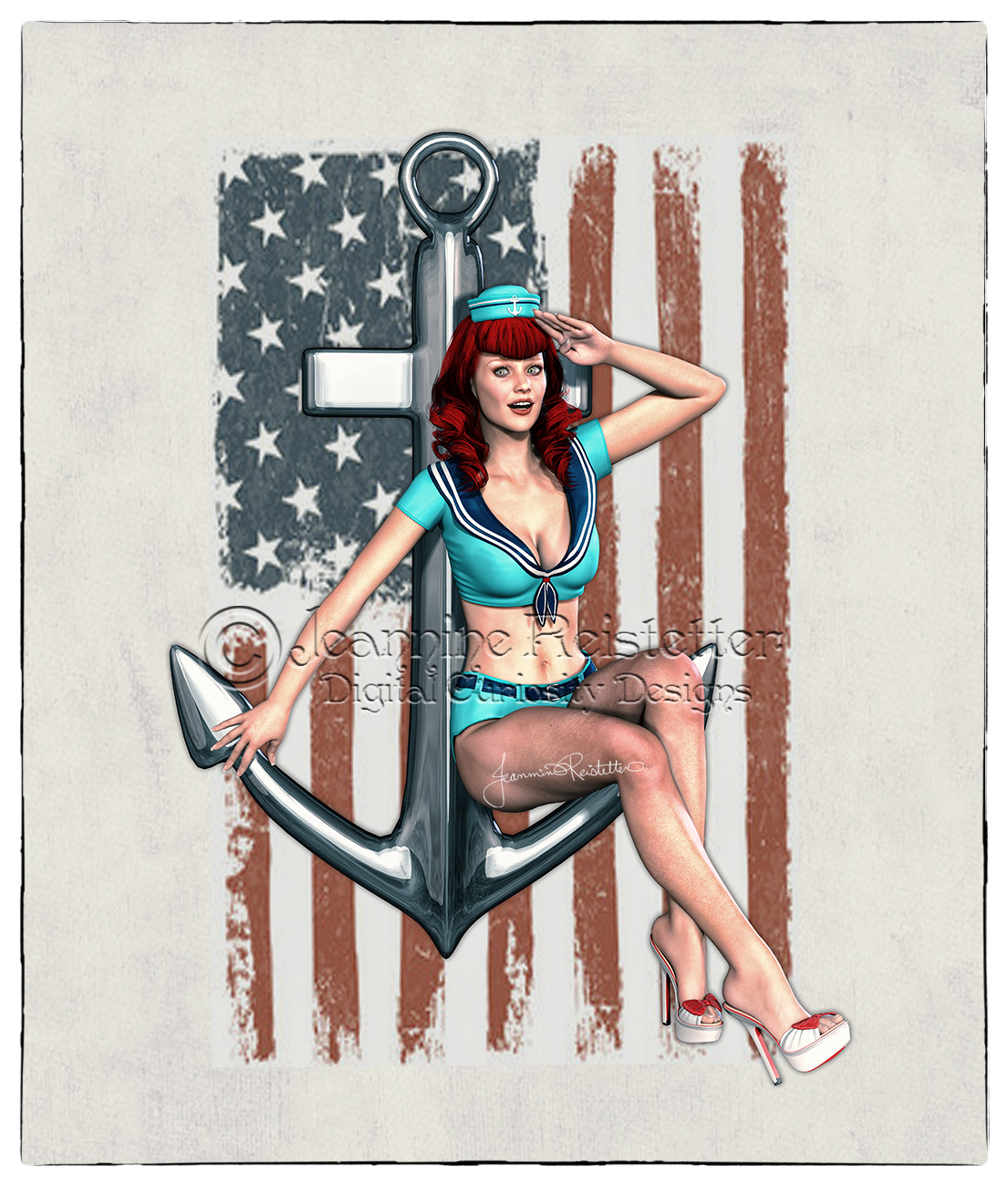 Pin Up Sailor Girl Red Head by Cupcake