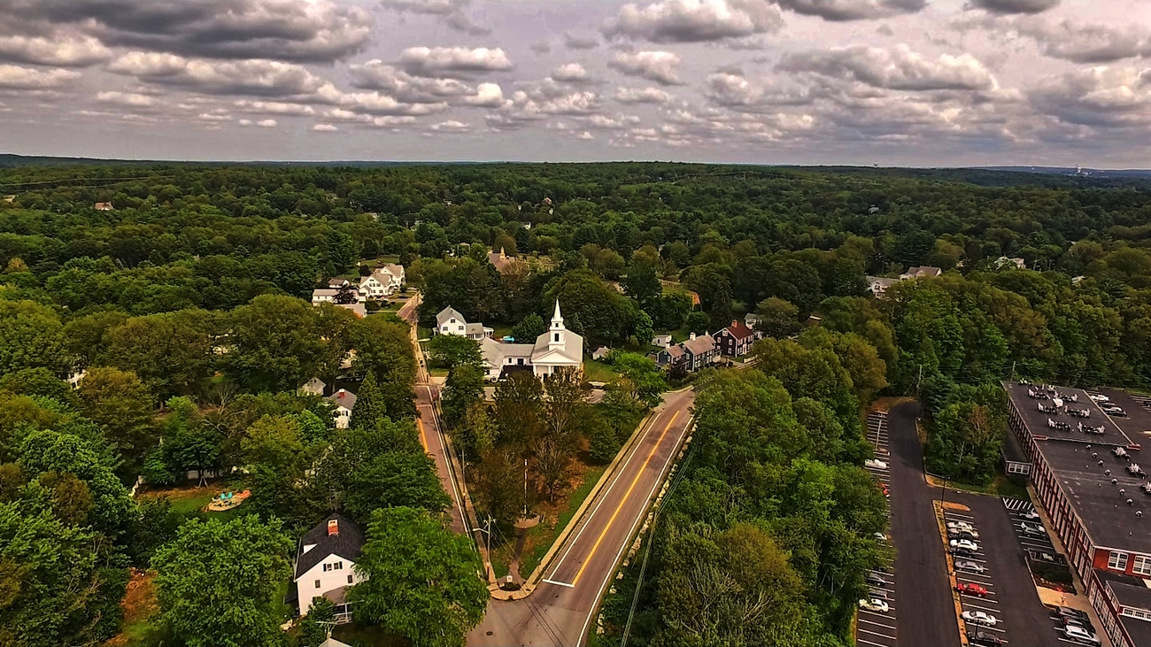 Eye of the Drone - North Smithfield Town Green by Ragtopjohnny