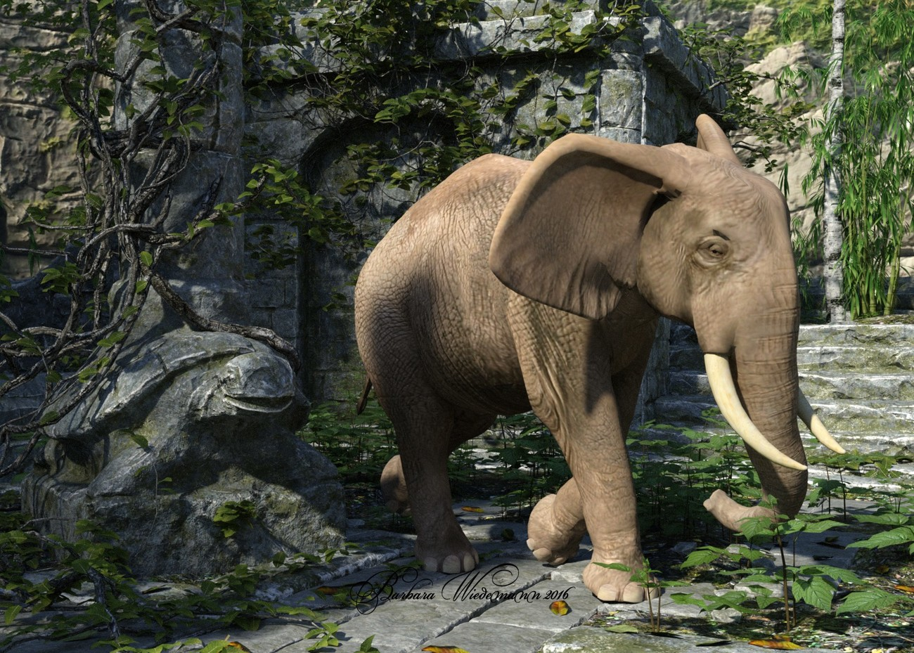 The elephant and the Abandoned Temple. by Barbara1337