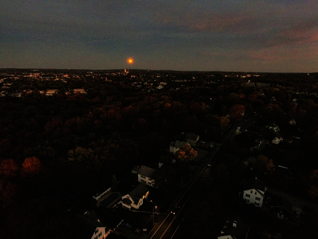 Eye of the Drone - Moon Rise over New England by Ragtopjohnny