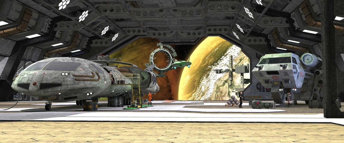 Hangar Scene - Large for Print and Sale