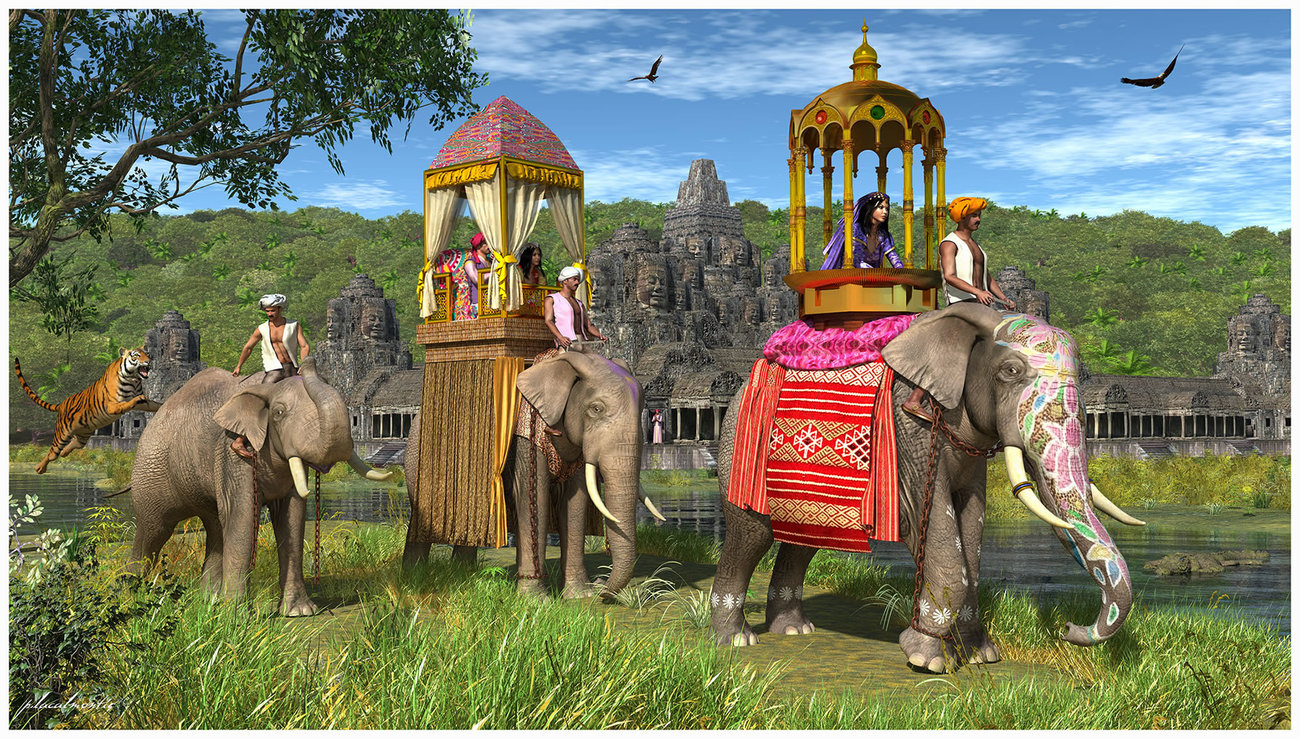 - Angkor elephant rides - by P-LACALMONTIE