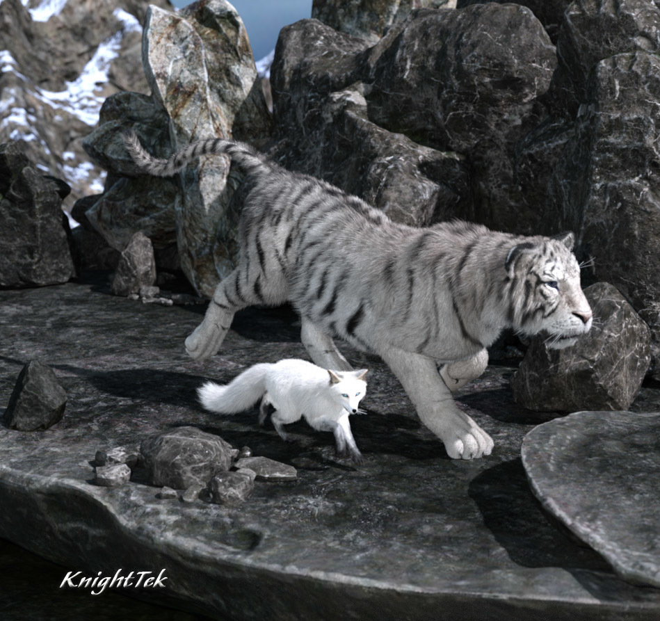 Winter Fox and Tiger by KnightTek