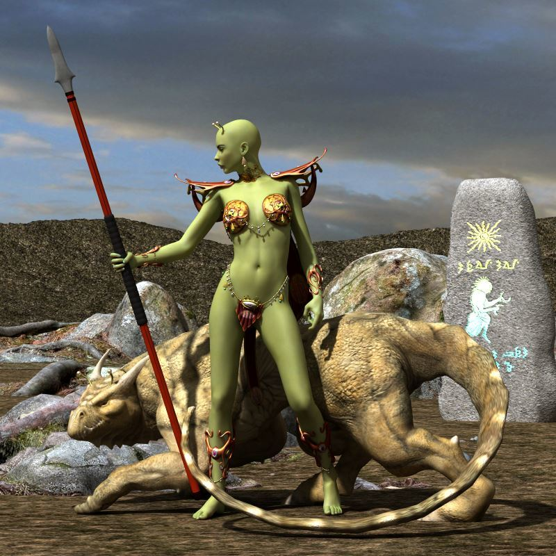Alien Huntress and Hound by Adompha