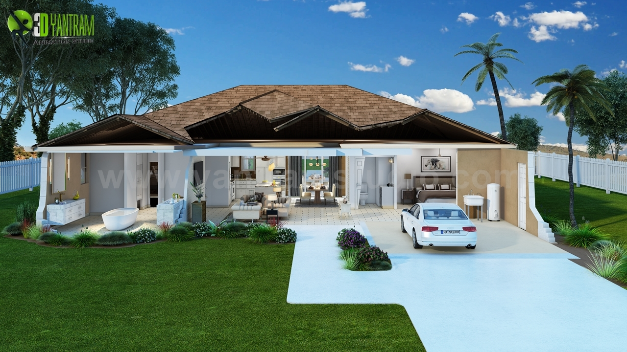 House Cut Section Exterior Rendering ideas by yantramstudio