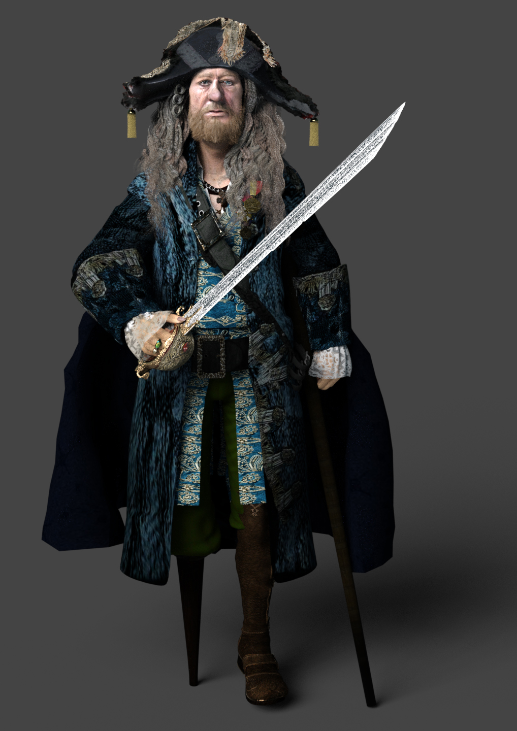Hector Barbossa with sword of triton PotC5 by Paspu