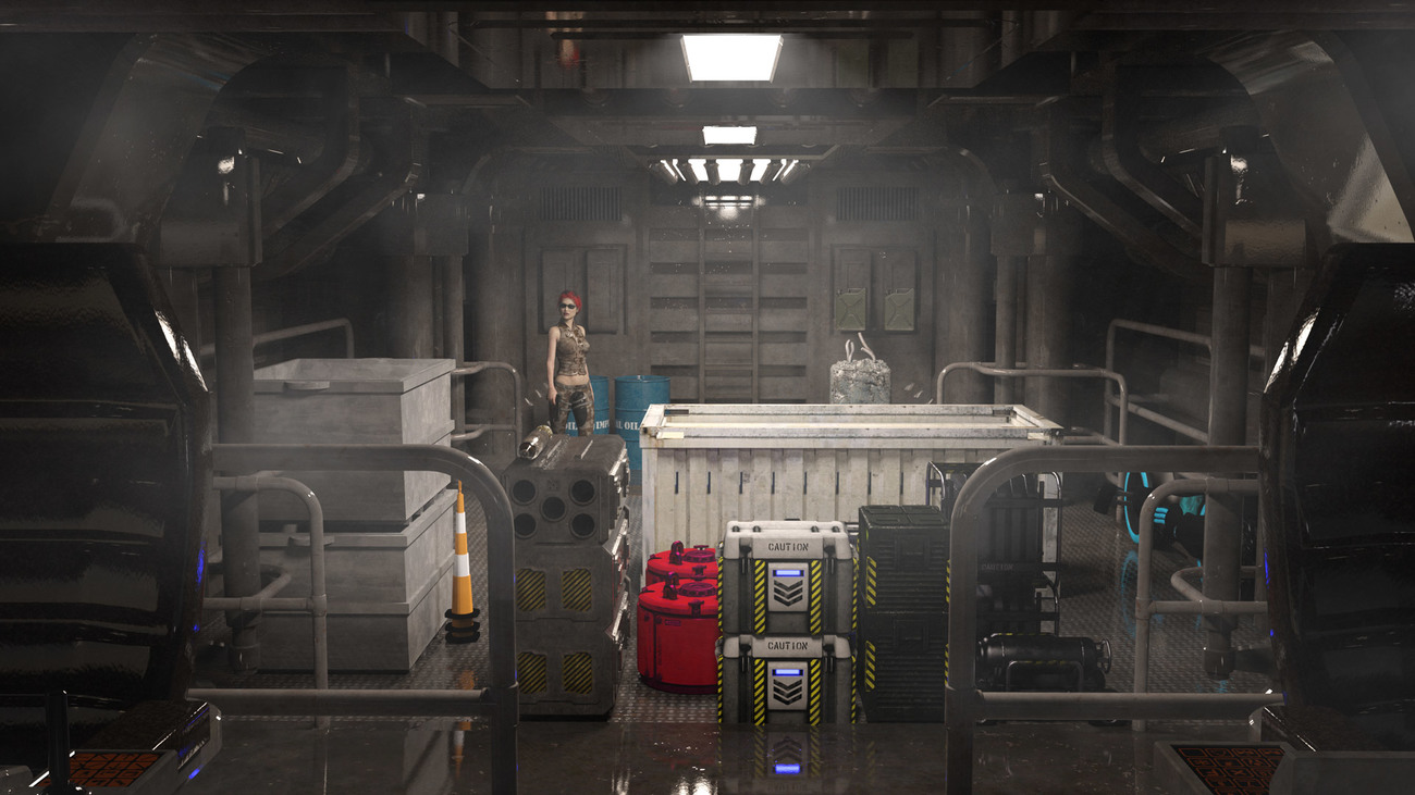 Interior of Nightshift3D Spacercaft Iray Lit by Ti