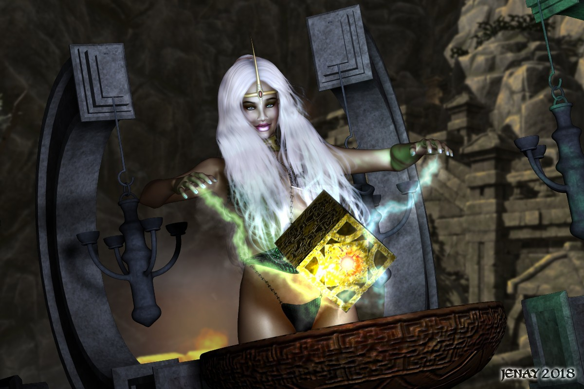 Sorceress with Cube