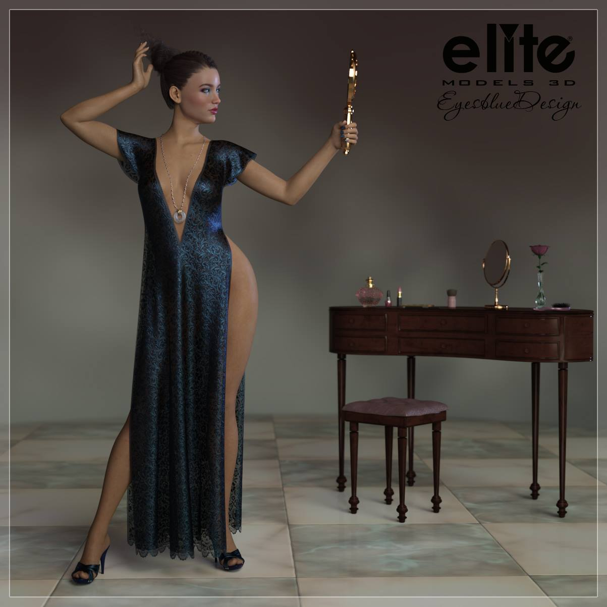 Romance Dress for Lully by EyesblueDesign by EliteModels3D