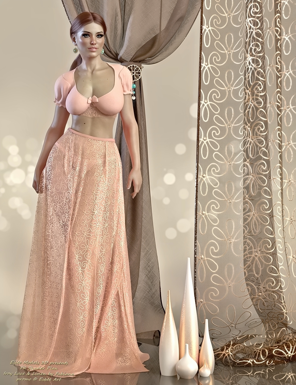 Lace and Linen for Fabiana by EsbeeArt by EliteModels3D