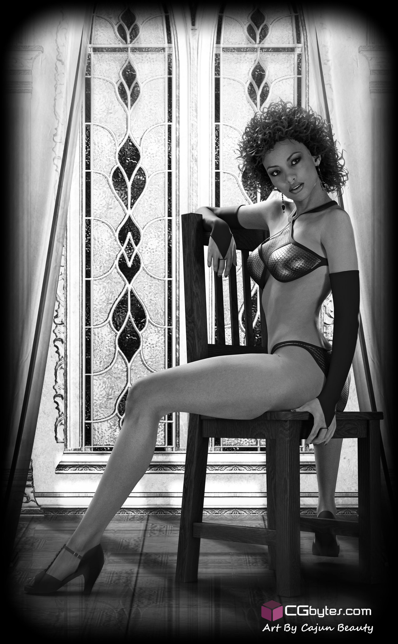 Black and White Pin Up Girl by CajunBeauty