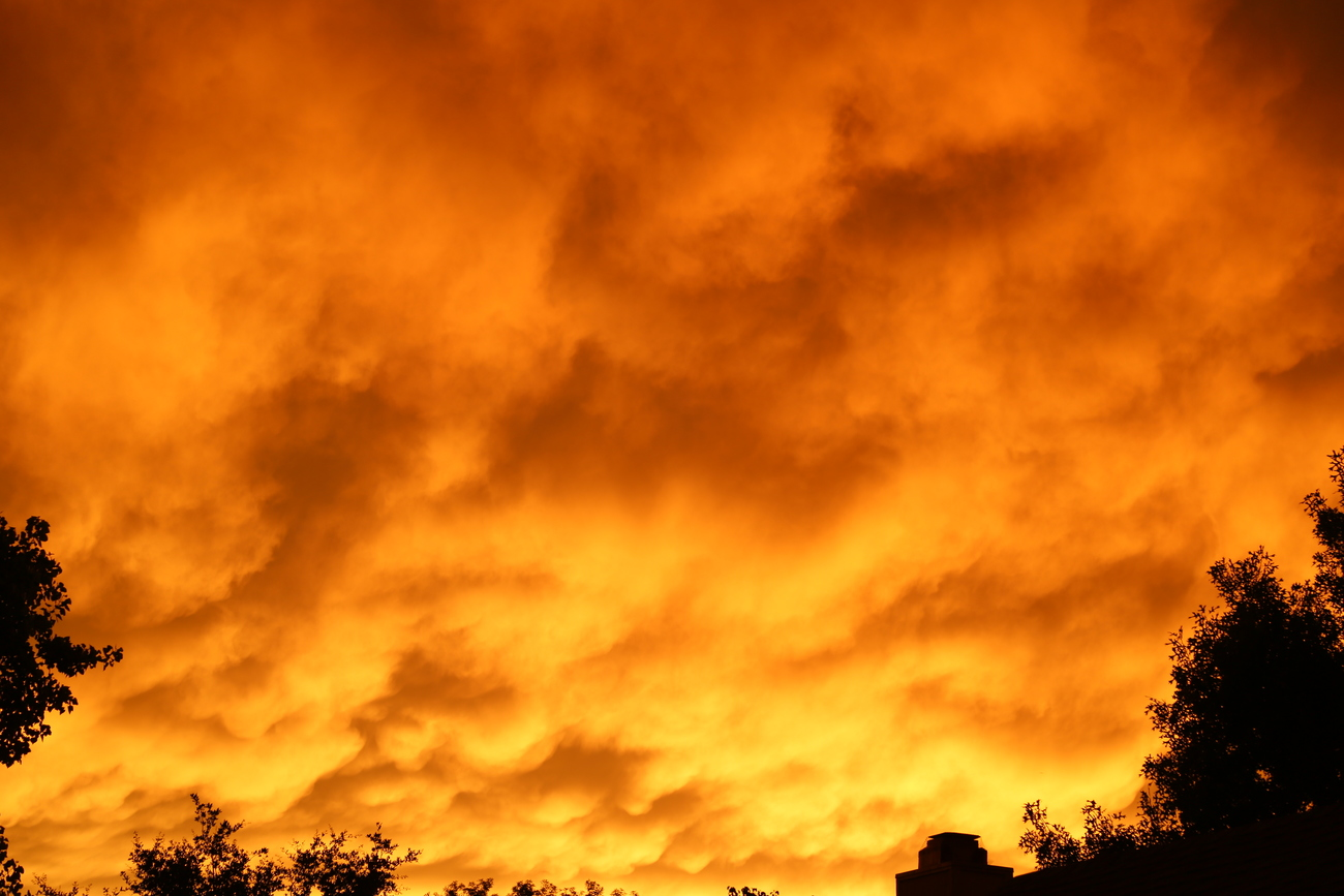 the sky on fire