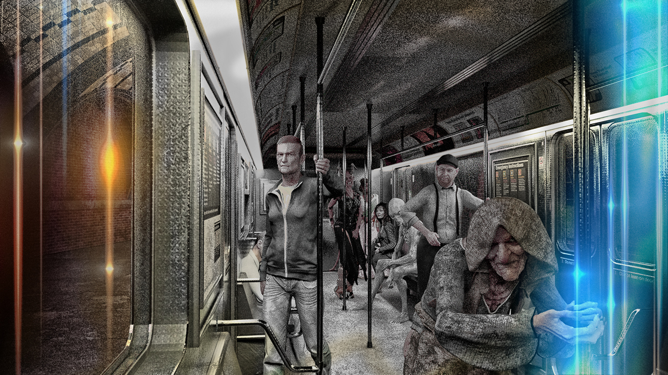In a very strange subway