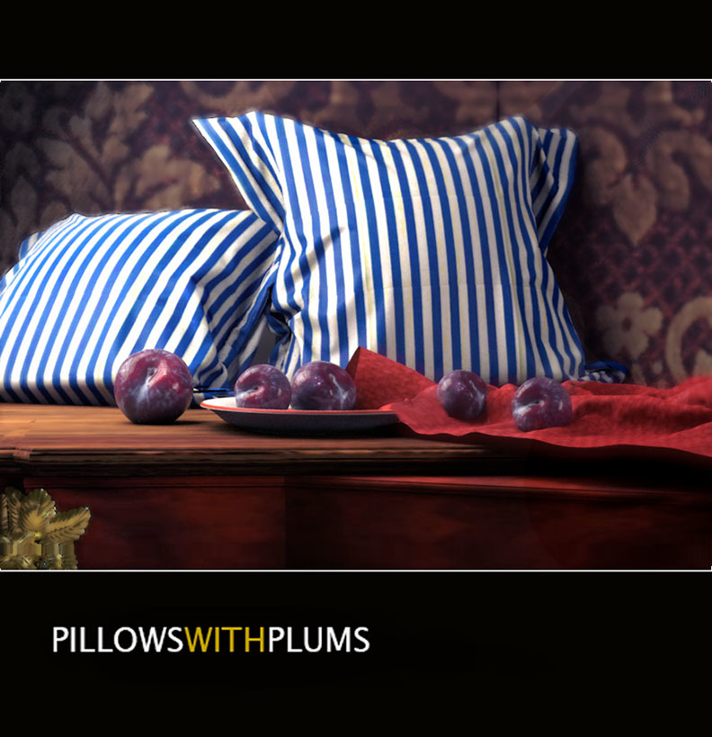 Pillows with Plums by Artformz2
