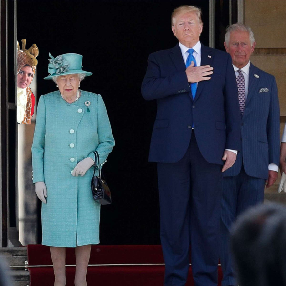 Sneaky Giraffe meets Trump and QEII by SchelleFire