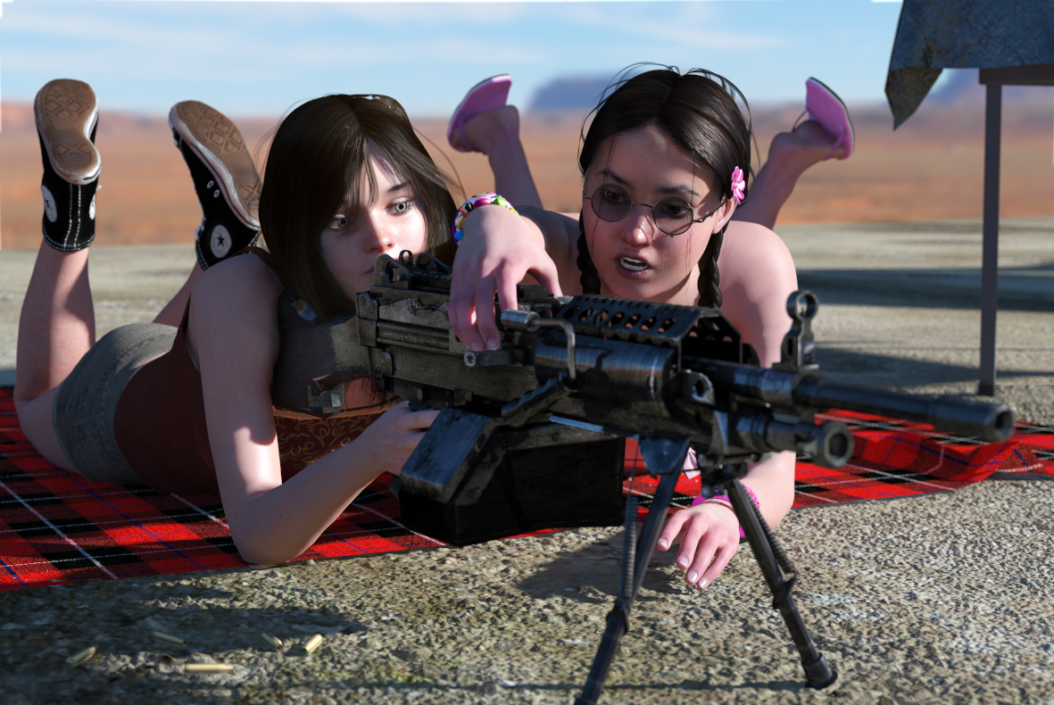 Sisters at the range - Firing the SAW 1