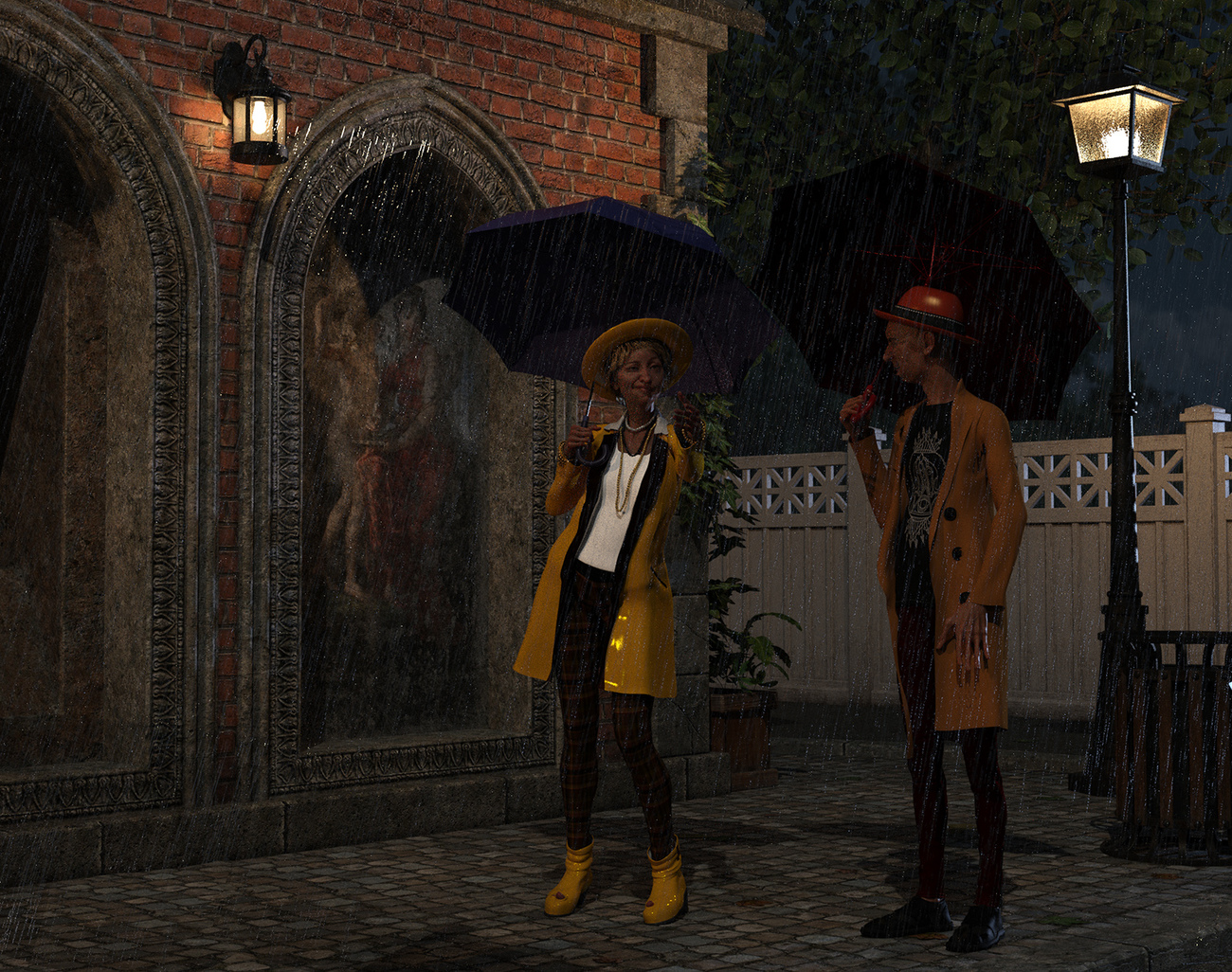 Encounter between neighbor in the rain by martial