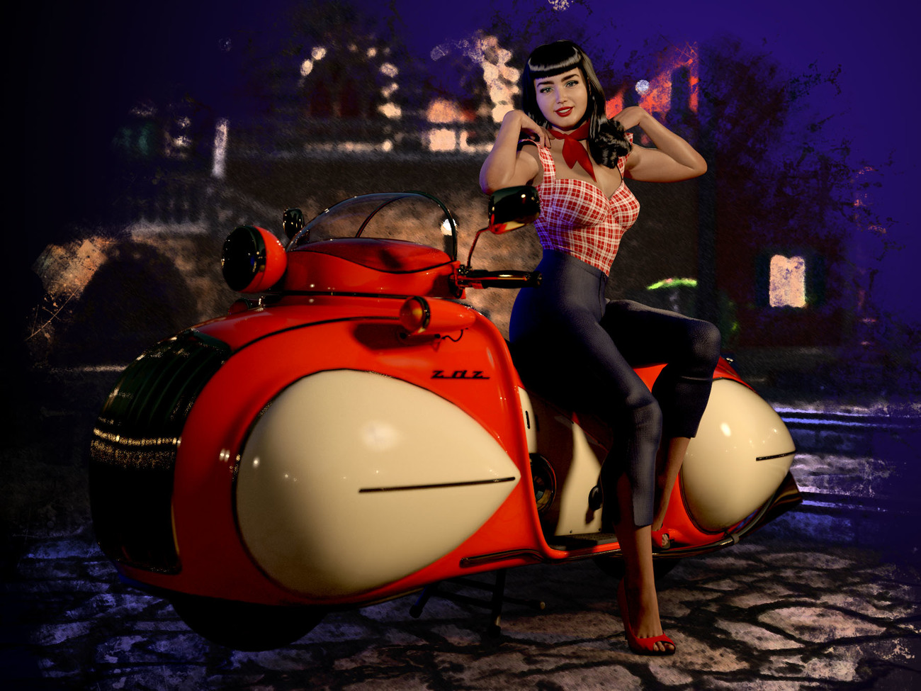 Betsy and the Streamlined Motorcycle by chriscox
