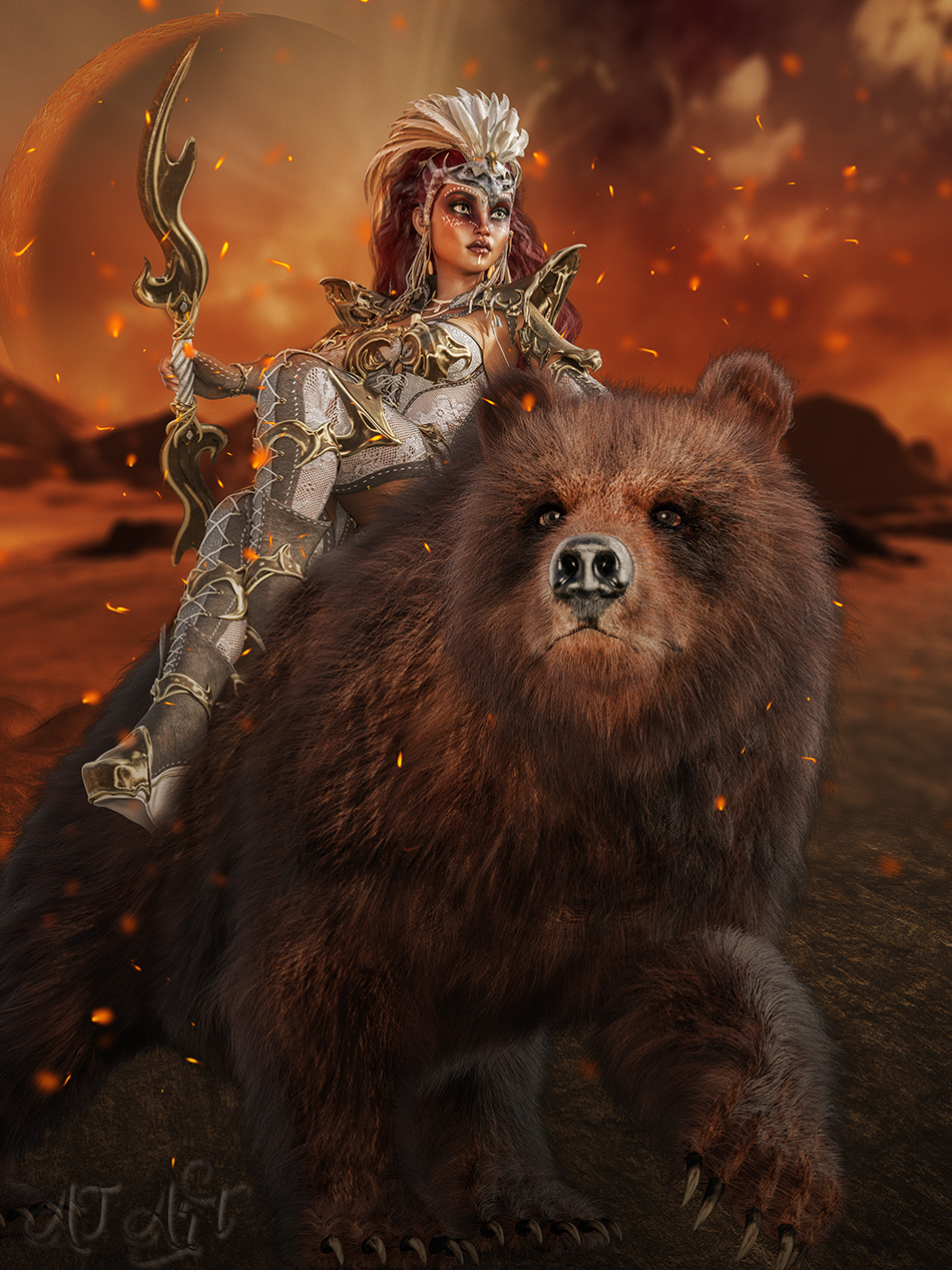 Warrior Woman with Bear by hea39y