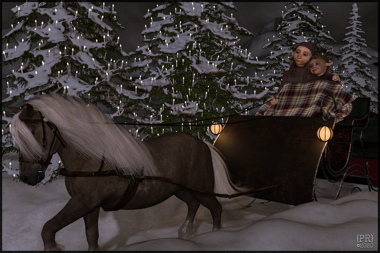 Fehn and Vila's Moonlit Sleigh Ride by perpetualrevision