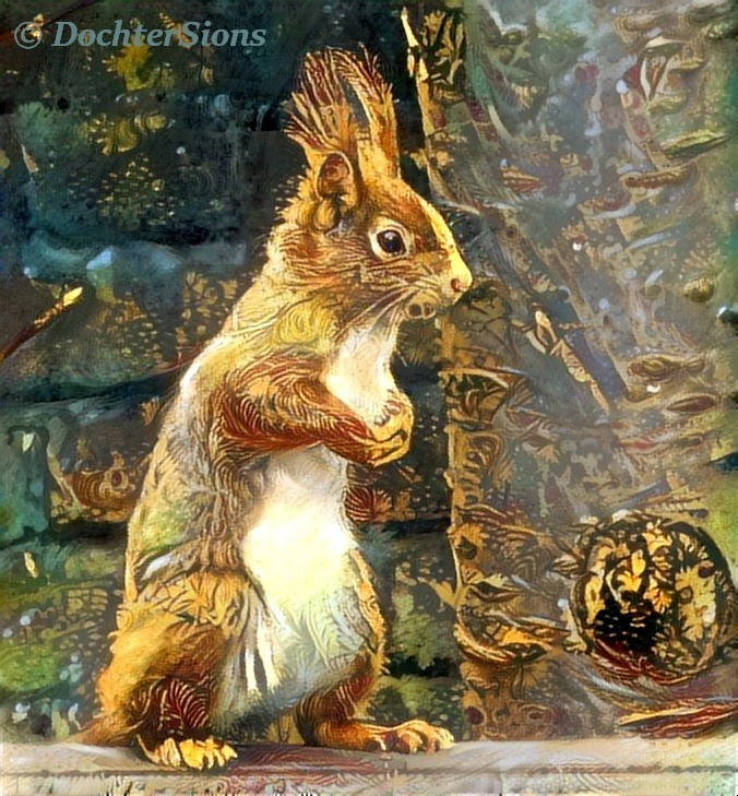 A squirrel in our garden by dochtersions