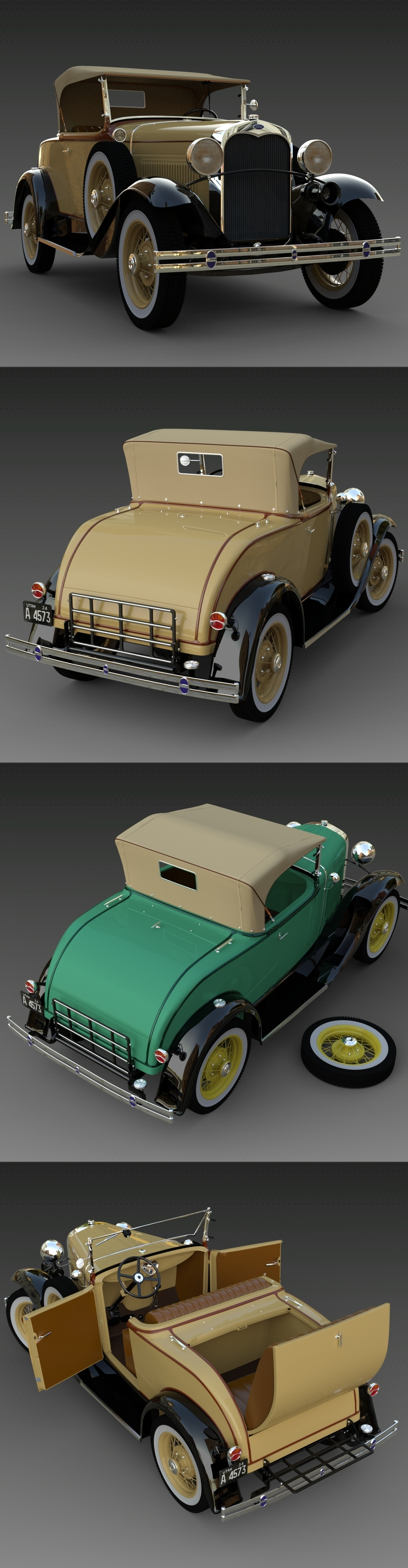 Ford A 1930 IRay renders by 3DClassics123456
