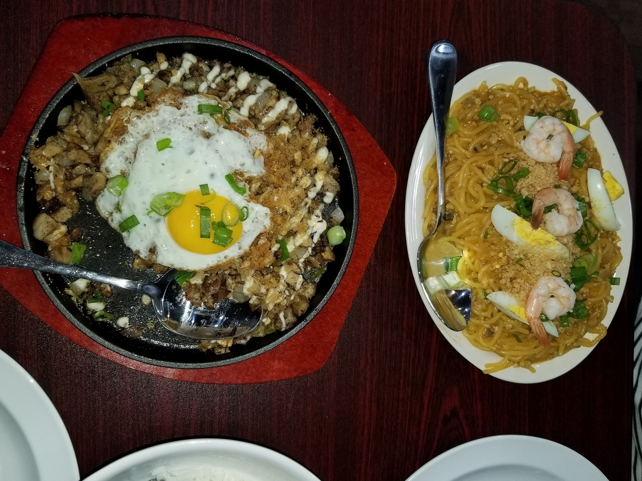 Sisig on left/ Palabok on right today at lunch by Richardphotos