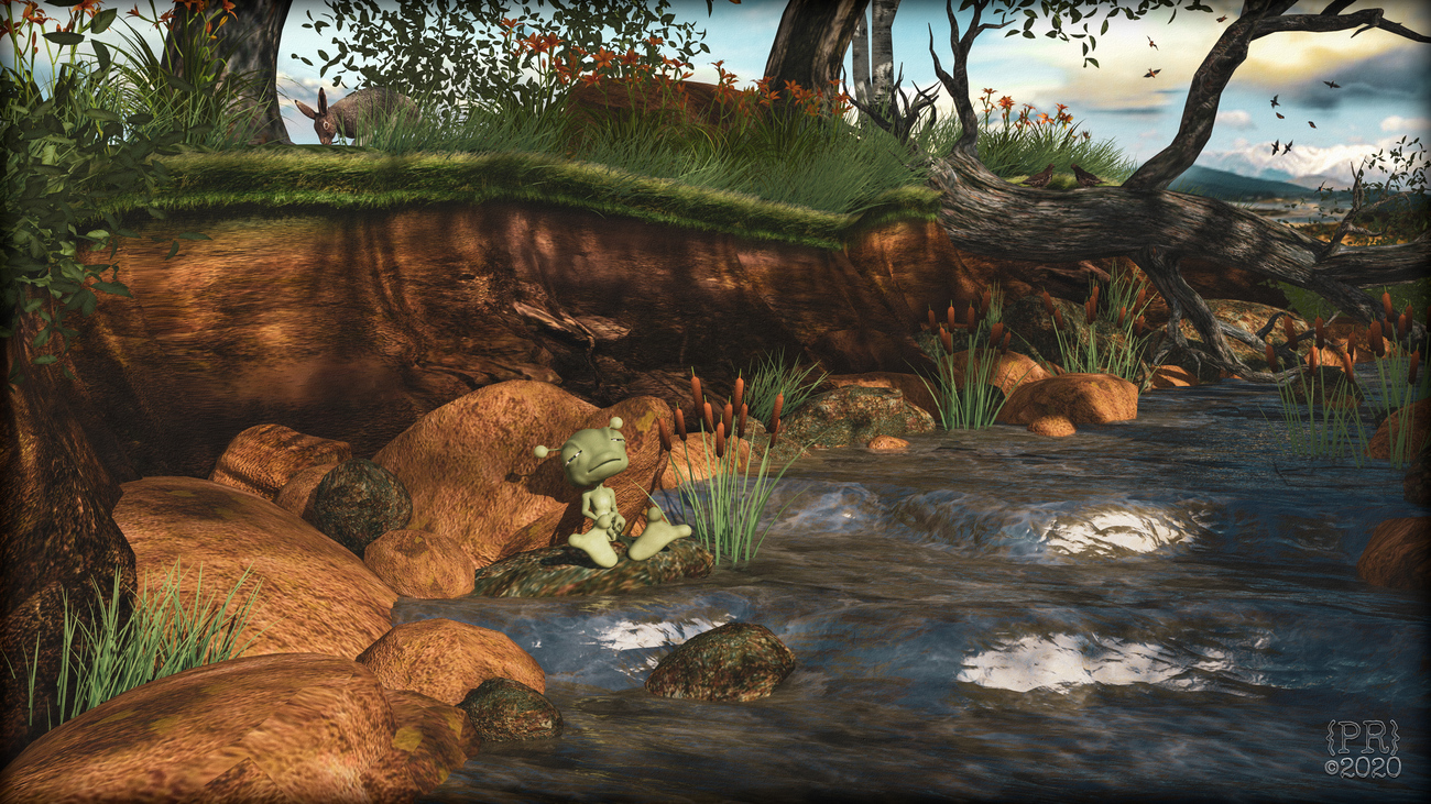 Bubbles Relaxes at the Woodland Stream