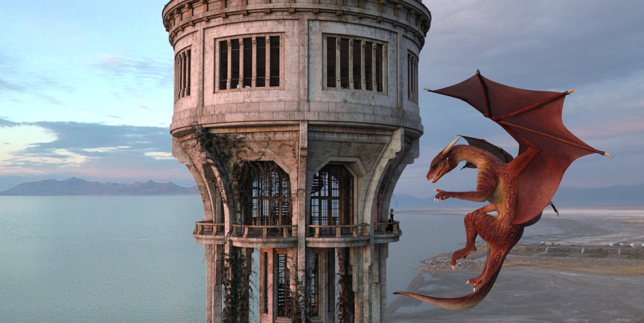 Dragon and Tower by Oblomov