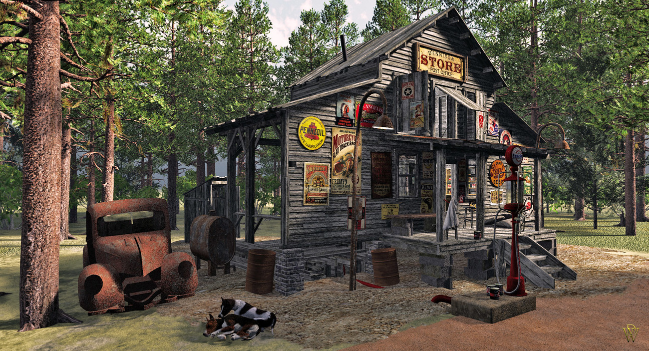 Promo image of my new Country Store model. Obj in  by London224