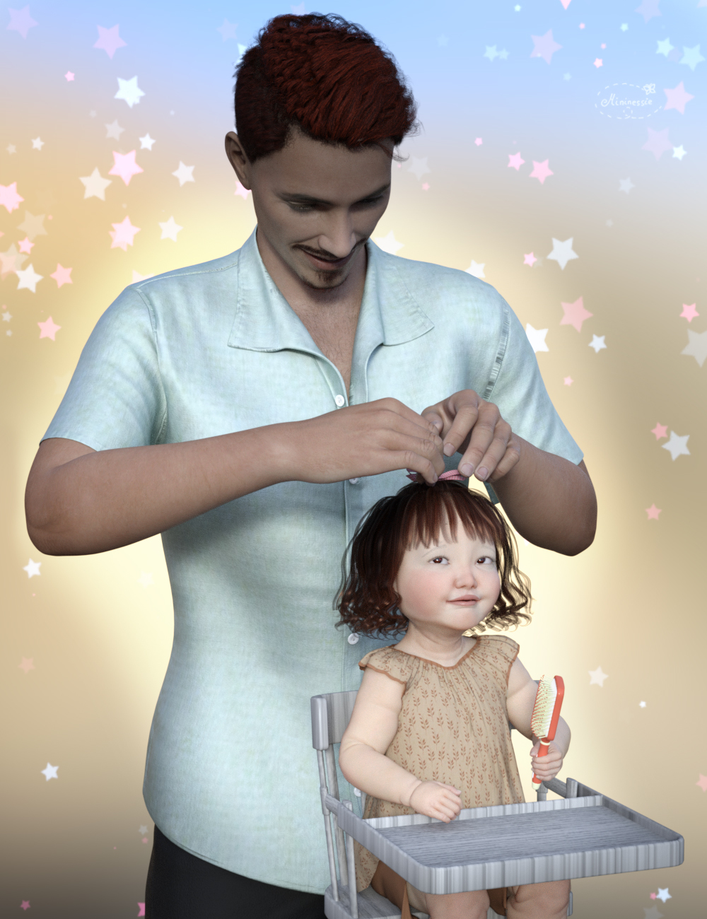 Dad combs her hair for elleque by mininessie