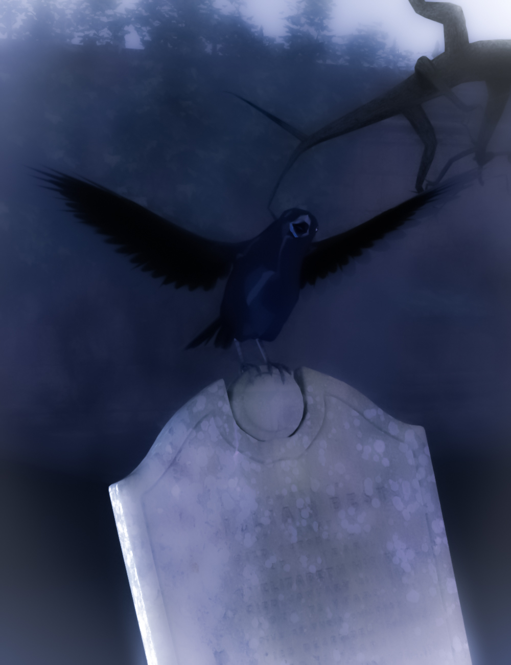 Black crow on a tombstone