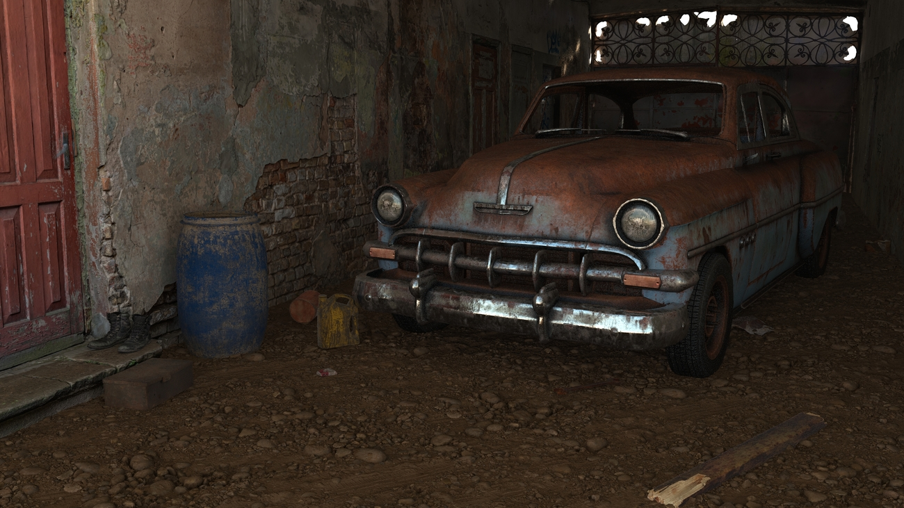 Rusty car in an alley by iborg64
