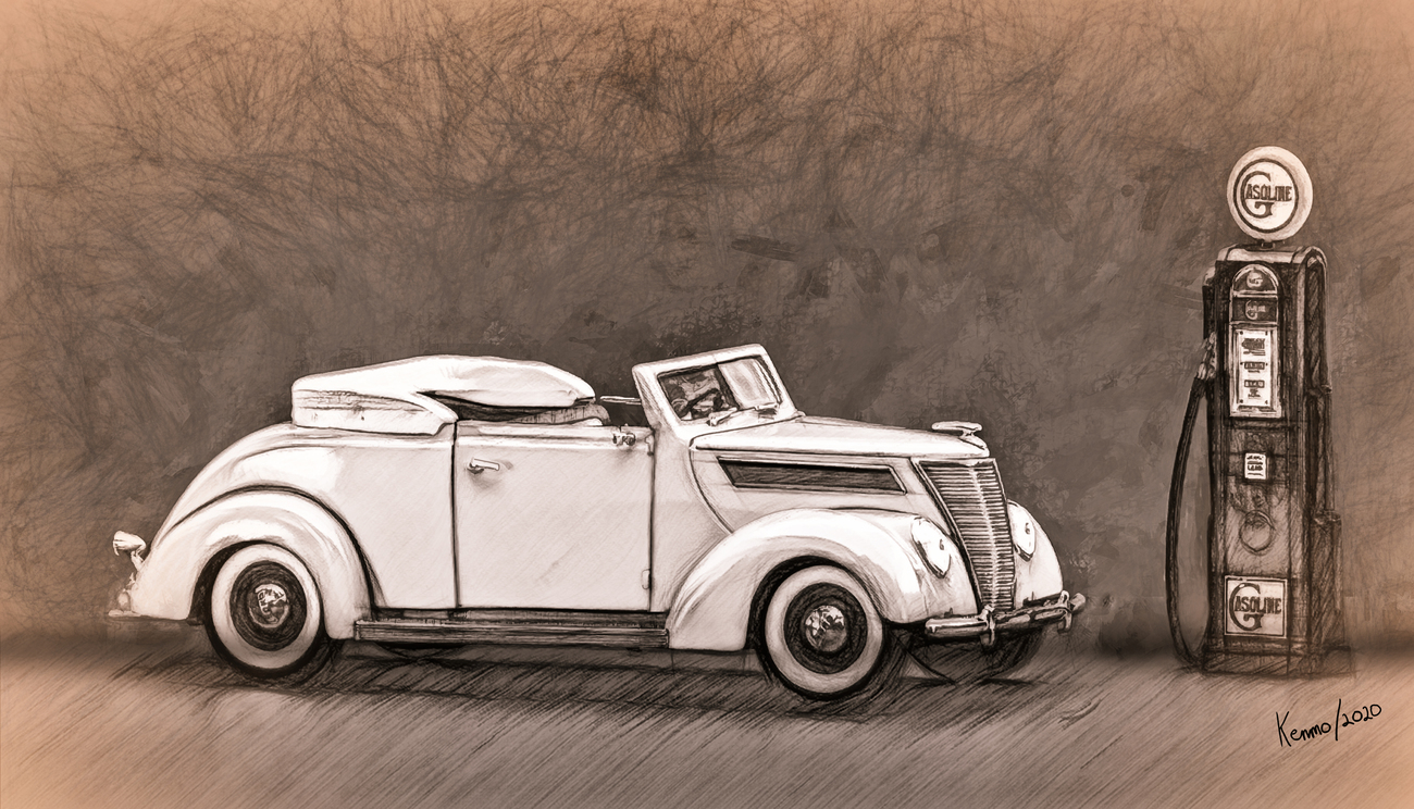 1937 Ford Convertible & Vintage gas Pump. by kenmo