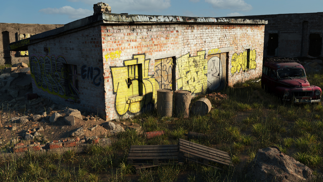 Derelict building with yellow graffiti by iborg64